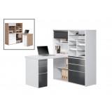 INSP. Biurko 127 x 187 cm biały , czarny , MDF , szkło