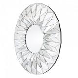 INSP. Lustro okrągłe nowoczesne w trójwymiarowej lustrzanej ramie Hecate 100 cm