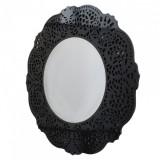 INSP. Okrągłe czarne lustro dekoracyjne Orsini w ażurowej ramie