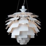 INSP. Lampa wisząca ARCHI 48 cm , biała , srebrna
