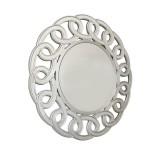 INSP. Okrągłe ażurowe lustro Avola 100 x 100 cm w dekoracyjnej w ramie lustrzanej