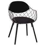 INSP. King Home Krzesło DEMON czarne , metal , ekoskóra , podstawa bukowa