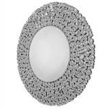 INSP. Okrągłe lustro dekoracyjne  Liv 90 x 90 cm w kryształowiej ramie lustrzanej