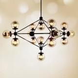 INSP. Lampa wisząca ASTRIFERO 15 , bursztynowymi , transparentnymi kloszami 110 cm