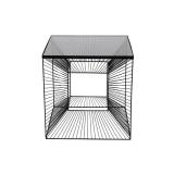 INSP. Eurohome Nowoczesny metalowy stolik 3D z grafitową szybą 45 x 45 cm TOYJ19-211
