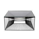 INSP. Eurohome Nowoczesny metalowy stolik 3D z grafitową szybą 80 x 80 x 38 cm TOYJ19-210