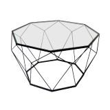 INSP. Eurohome Geometryczny czarny metalowy stolik szklany blat Ø 74 x 42 cm TOYJ19-653