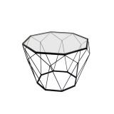 INSP. Eurohome Geometryczny czarny metalowy stolik szklany blat Ø 55 x 38 cm TOYJ19-654