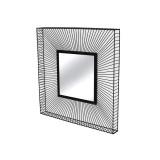 INSP. Eurohome Lustro w ramie ze stalowych czarnych drucików 90 x 90 x 9,5 cm TOYJ19-214
