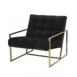 INSP. Nowoczesny Fotel tapicerowany Mahora , w złotej chromowanej ramie