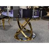 INSP. Stół z czarnym blatem i złotą podstawą Ø 130 cm