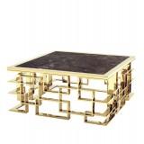 INSP. Ekskluzywny stolik kawowy Cluso chromowany złoty ze szklanym czarnym blatem 100 x 45 cm