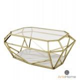 INSP. Nowoczesny stolik kawowy Emerald 70 cm metalowy złoty szklany blat