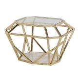 INSP. Nowoczesny stolik kawowy geometryczny metalowy Rizer 60 cm złoty