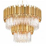 INSP. Lampa wisząca Pipe Organ Crystal Chandelier Brass , chrom 80 cm