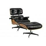 INSP. King Home Fotel LOUNGE HM SOFT PREMIUM SZEROKI z podnóżkiem czarny - sklejka orzech , skóra naturalna