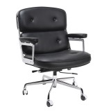INSP. King Home Fotel biurowy ICON PRESTIGE PLUS czarny , biały - włoska skóra naturalna