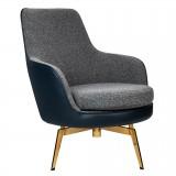INSP. King Home Fotel obrotowy TORO - ekoskóra , tkanina teddy , złota podstawa