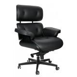 INSP. King Home Fotel biurowy LOUNGE GUBERNATOR czarny - czarny jesion, skóra naturalna, podstawa czarn