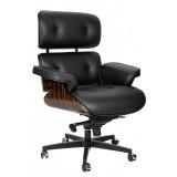 INSP. King Home Fotel biurowy LOUNGE GUBERNATOR czarny - heban, skóra naturalna, podstawa czarna