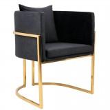 INSP. King Home Fotel CHLOE VELVET czarny , ciemny szary welur - podstawa złota