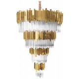 INSP. Lampa wisząca Pipe Organ Crystal 80 cm brass 4-rzędowy