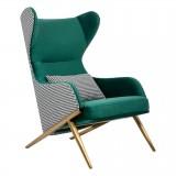 INSP. King Home Fotel HAMPTON VELVET ciemny zielony , tkanina pepitka biało - czarna - złota podstawa