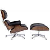 INSP. King Home Fotel LOUNGE VA PREMIUM SZEROKI czarny , biały z podnóżkiem - sklejka orzech , skóra naturalna