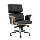 INSP. King Home Fotel biurowy LOUNGE BUSINESS czarny , biały - orzech , skóra naturalna